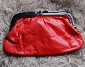 Vintage red leather clutch bag