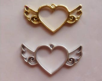 10Pcs Gold Alloy Hollow heart Wings Charm Pendant Jewelry Making Pendant DIY Handmade Craft Two Colors
