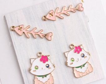 10Pcs Gold  Enamel Cute Flower Cat Fish Bones Charms Pendants Fit Handmade Necklace Bracelet Findings Women Craft Diy Jewelry