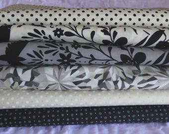 lot 6 patchwork collection Black and White Robert Kaufman fabrics