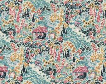 fabric blue patchwork Dearstella Enchanted Forest design