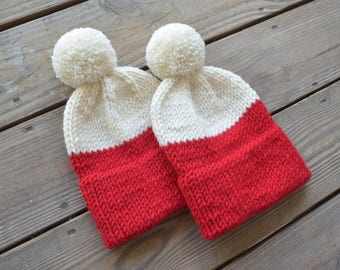 Mommy and Me Hats, Matching Hats, Mommy and Baby Hats, Baby Beanies, Pom Pom Beanies, Knit Toque, Knit Beanie, Winter Hats