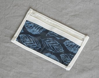 Cream-blue notions pouch