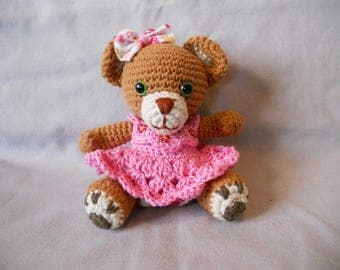 Miss Rosy pink Teddy bear dressed in a Brown fur