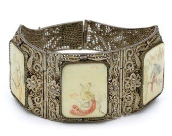 Antique Chinese Scrimshaw Bracelet, Silver Filigree And Ox Bone, Chinese Export Jewelry, Panel Link Bracelet, 1920s Etched Birds Bangle