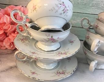 Pink Rose Versaille by Premiere Japan Vintage Teacup and Saucer Set White Pompadour Platinum Trim Creamer Multiples and Orphans