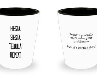 Tequila shot glasses - ceramic 1.5 oz - 2 pack - funny novelty shot glass set for tequila drinkers
