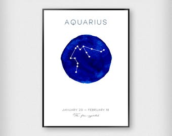 Zodiac Horoscope Prints | Kids | Black - White - Blue | Stars - Children - Poster