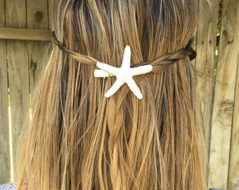 FREE SHIPPING - White starfish hair clip