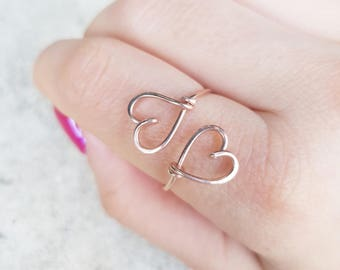 Double Hearts Ring 22k Rose Gold, Wire Heart, Sweetheart Couple Bridesmaids Girlfriend Best Friends Gift, Adjustable Ring, Best Friend Gift
