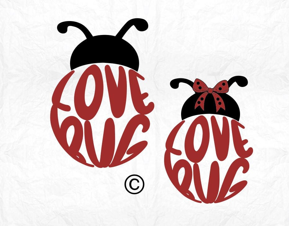 Download lady bug saying love SVG Clipart Cut Files Silhouette Cameo
