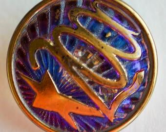 Metalized Back Glass Centennial Button