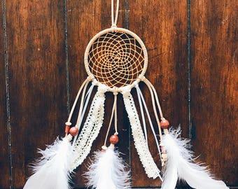 Sunflower Yellow Dream Catcher, Neutral Crochet Boho Doily Dream Catcher