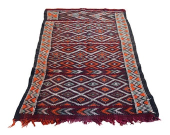 "Vintage Kilim Morocco ""Orange-Mint"" 86 x 162 cm"