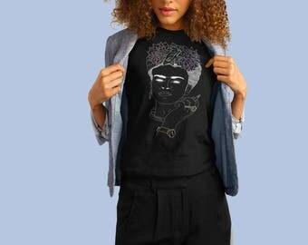 Frida Kahlo de Rivera/Hand Drawn Portrait/Latina Feminist Artist/Black Tri-Blend T-Shirt
