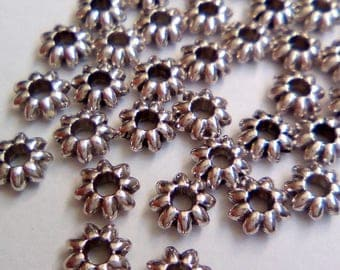 25 beads 5mm silver rondelle spacer flowers