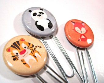 Planner Paper Clip - Altered Paper Clip - Flair Planner Clip - Bookmark - Planner Accessory - Planner Clip Set - Cute Fox Clips