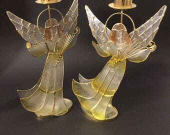 Pair Of Mother Of Pearl And Brass Candle Holders/ Holiday Decor/Christmas Angels.