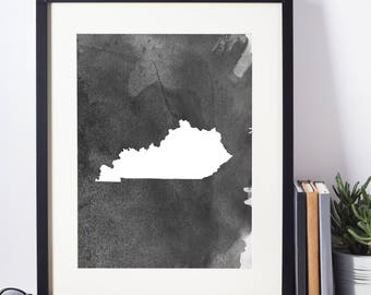 Home Decor, Wall Art, Watercolor, Kentucky Black and White Art Print, Kentucky Wall Decor,   Digital Download, Modern Art