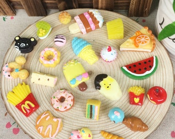 20Pcs Kawaii Miniature Artificial Fake Food Cake Resin Cabochon Decorative Craft Play Doll House Toy