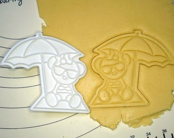 Bear on the Beach Cookie Cutter and Stamp
