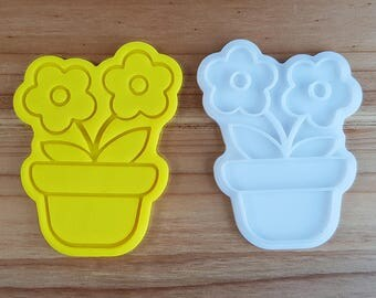 Flower Pot  Cookie Cutter and Stamp