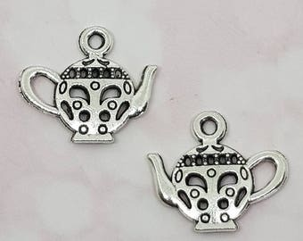 Charms, Teapot Charms, 1/5/10, 19mm x 17mm, Jewellery Making Supplies, Antique Silver Charms For Necklaces, Bracelets, Planner Charms,