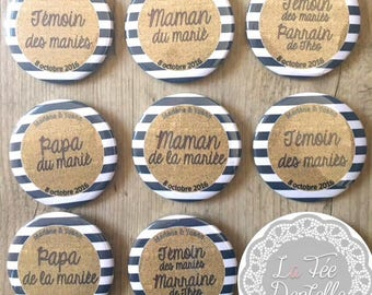 Package of 8 badges {4 cookies 4 of the groom's parents (mother and father)} wedding 38mm