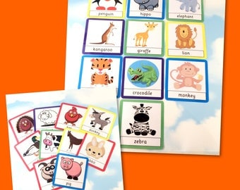 Zoo and farm animal flash cards, Nursery, Early years, Learning cards, EYFS, Teaching resource, Pre-school, Education cards
