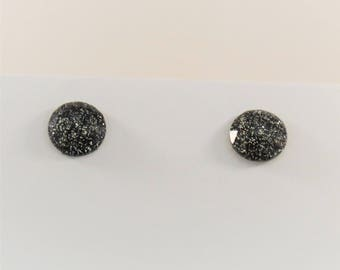 Sparkly Black Circle Stud Earrings