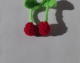 Crocheted Cherry Brooch