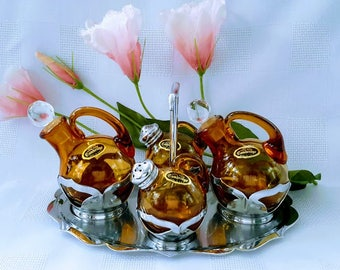 Cambridge Glass Faberware Amber Table Set