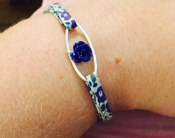 Blue floral Liberty fabric bracelet