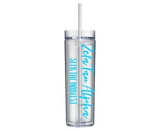 Zeta Tau Alpha Tumbler, ZTA Sorority Tumbler Gift, Sorority Water Bottles