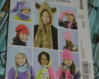McCalls 6448 Children's / Girls Hats Cowl and  Mittens Sewing Pattern  UNCUT -  Size Xs S M L XL