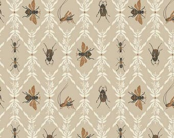 Bee Insect Fabric - Little Entomologist - Lambkin Bonnie Christine - Art Gallery Fabric - Farm Garden - Autumn Fall Fabric - Bug Bettle Ant