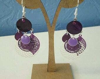 Earrings dangle purple and silver