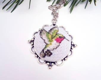 Bird lover gift Hummingbird necklace green Necklace bird Hummingbird gift for bird lover Jewelry Hummingbird Jewelry Embroidered bird
