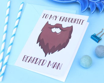 Funny greeting card for bearded men, Funny beard card, Husband card, Boyfriend card, Father card, Birthday card, Valentine's Day card