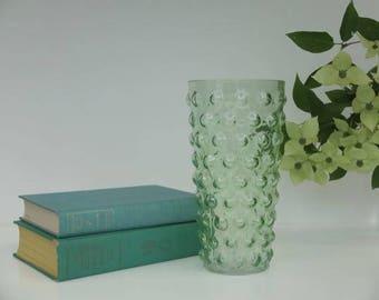Vintage  Green Bubble Vase, Modern Flower Vase, Green Glass