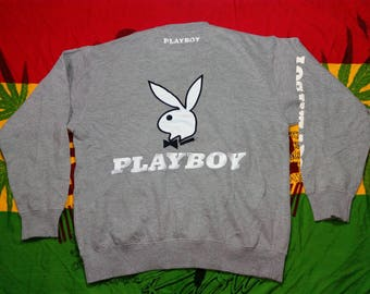 RARE!!! Vintage PLAYBOY Sweatshirt Pullover Grey Color Big Logo Back Embroidery