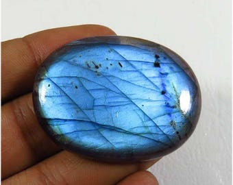 Natural Labradorite cabochon. 42x32 mm. Spectrolite labradorite loose. Blue Labradorite Gemstone. blue flash labradorite jewelry use LBD-954