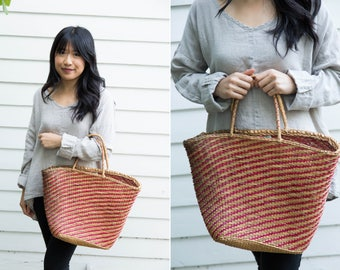 Large Woven Straw Market Bag with Red Straw Details