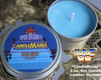 WWF WWE CandleMania 8 oz Soy Candle Leather Scented - Hogan, Macho Man and Ultimate Warrior
