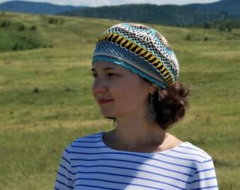 Crochet Beret. Summer beret hat. Boho hippie hat. Cotton beanie. Lace beret. Knit beret. Knit Tam hat.