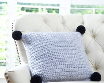 Chunky Crochet Square Throw Pillow with Pompoms, Decorative Pillow