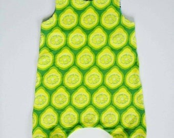 Organic Harem Romper Overalls - Limes print- long lasting sizes