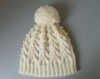 Winter White Pure Wool Cable Knit Pearl Embellished Pom Pom Hat