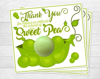 EOS Lip Balm Sweet Pea Baby Shower Printable Thank You Favor