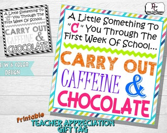 First Week Of School Teacher Appreciation Printable Gift Tag
